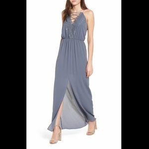 Wayf Dusty Blue Strappy Maxi Dress